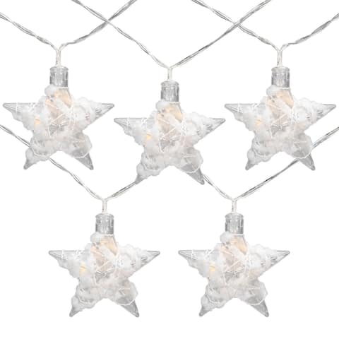 10 B/O LED Warm White Clear Star and Yarn Christmas Lights - 4.5' Clear Wire