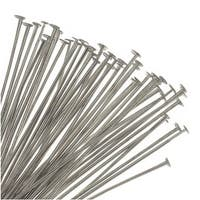Head Pins, 1.5 Inches Long and 21 Gauge Thick, 50 Pieces, Silver Tone Nickel Plated