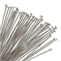 Head Pins, 2 Inches Long and 21 Gauge Thick, 50 Pieces, Silver Tone Nickel Plated