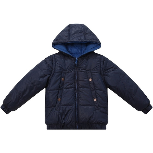 Richie House Baby Boys Blue Hooded Removable Sleeves Padded Jacket 12M - 12 months