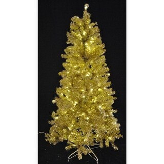 Christmas at Winterland WL-TTR-06-GO/SLV-LWW 6 Foot Tinsel Pre-Lit Christmas Tree Warm White LED Gold and Silver