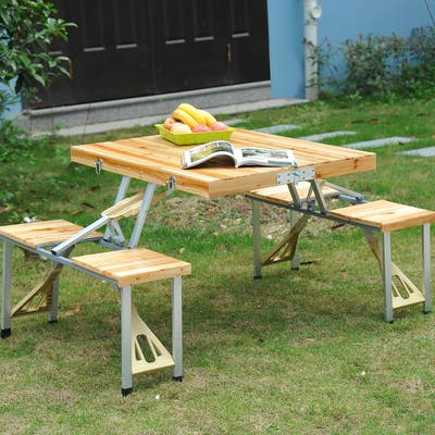 Outsunny 4 Person Wooden Portable Picnic Table Set with Umbrella Hole & Folding Suitcase Design, 4 Chairs