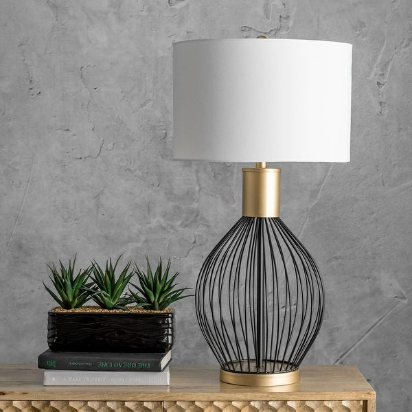 """nuLOOM Temecula 23"""" Modern Black & Gold Table Lamp. Opens flyout."""