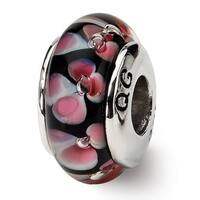 Sterling Silver Reflections Black/Pink Hand-blown Glass Bead (4mm Diameter Hole)
