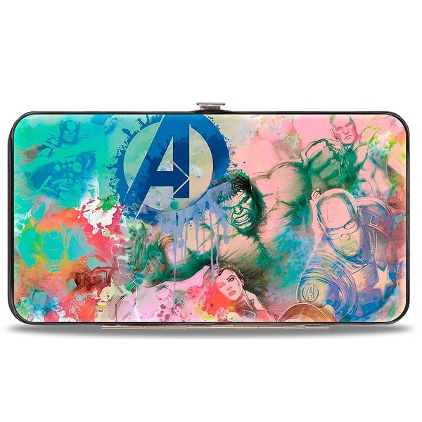 "Marvel Avengers 8 Avengers Action Poses ""A"" Logo Collage Splatter Multi Hinge Wallet - One Size Fits most"
