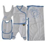 Baby Boys White Blue Edge Flower Print Soft Organic Cotton 6 Pc Layette Set - One size