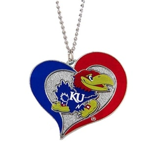Kansas Jayhawks Swirl Heart Necklace NCAA Charm Gift