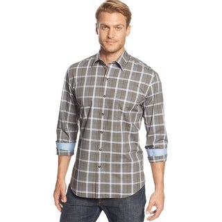 Tasso Elba Long Sleeve Plaid Check Shirt Brown and Blue Combo Large 16 - 16.5