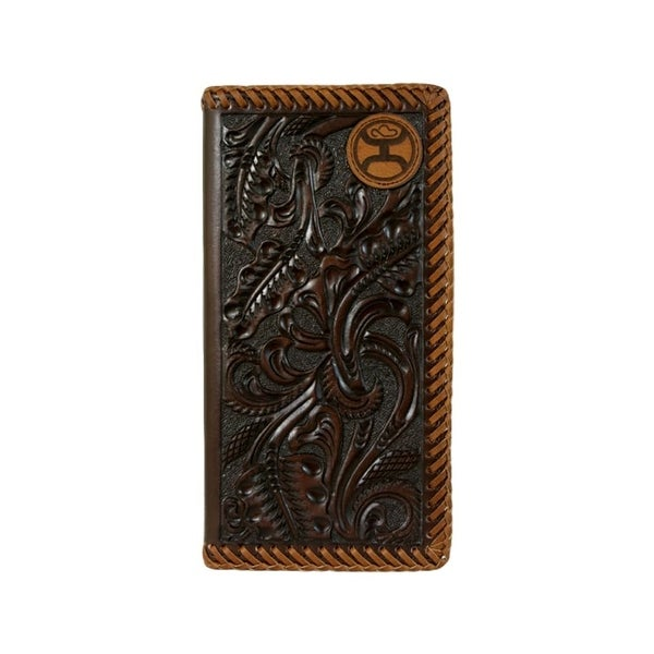 "HOOey Western Wallet Mens Patch Logo Rodeo Signature Brown - 3 1/2"" x 3/4"" x 7"""
