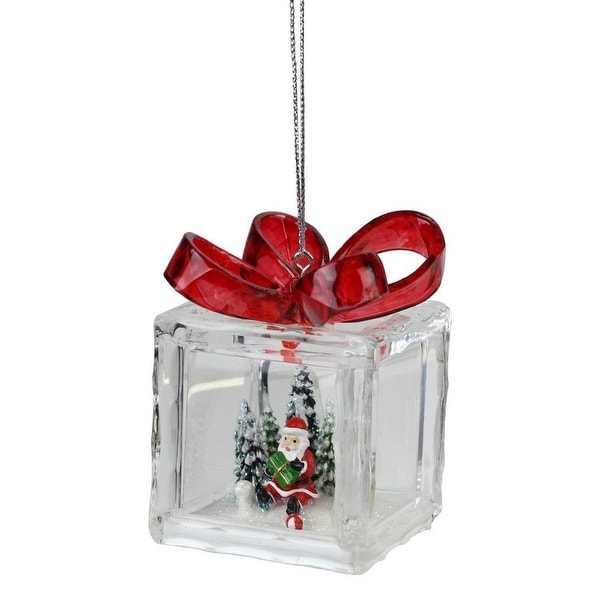 Amusements Red Acrylic Gift Box Christmas Ornament with Inner Santa Scene 3""