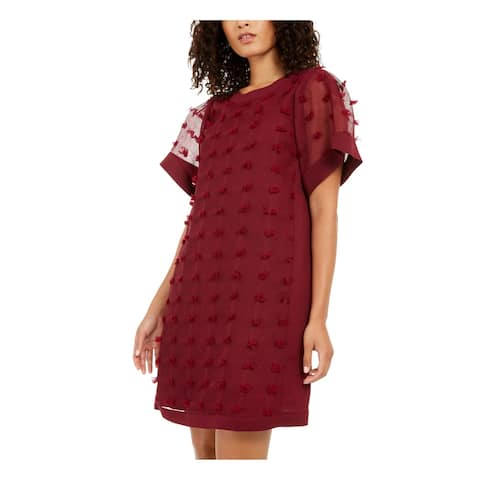 ALFANI Womens Burgundy Short Sleeve Mini Shift Party Dress Size 8