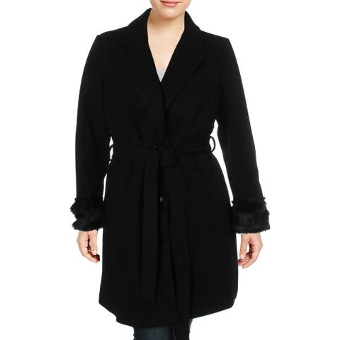 City Chic Womens Plus Dress Coat Faux Fur Cuff Long