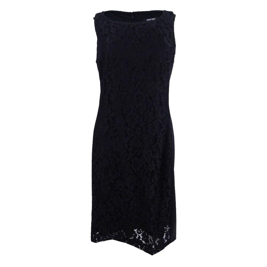 Nine West Women\'s Plus Size Lace Sheath Dress - Black
