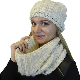 Hat and Infinity Scarf 2-Piece Knit Set, Cable Knit Lurex Intertwined
