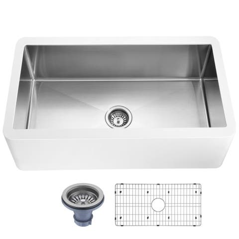 ANZZI Apollo Matte White Solid Surface Farmhouse 36 in. Single Bowl Kitchen Sink with Stainless Steel Interior