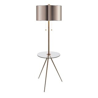 """68"""" Handsome Neutral Tone Floor Lamp with Tripod Legs and Metallic Drum Shade"""