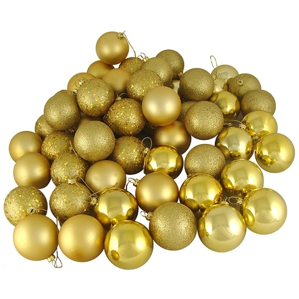 "72ct Vegas Gold Shatterproof 4-Finish Christmas Ball Ornaments 2.5"" (60mm)"
