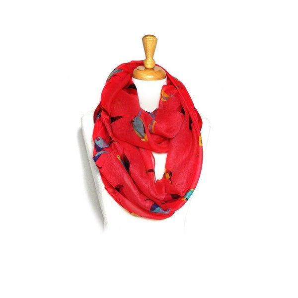 Birds Print Light Weight Soft Large Infinity Scarf