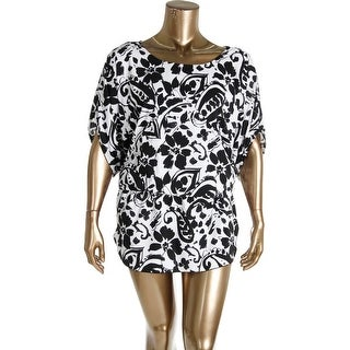 Anne Cole Womens Floral Print Cinch Waist Dress Swim Cover-Up