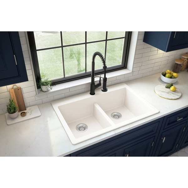 "Karran Top Mount Double Equal Bowl Quartz Kitchen Sink - 33"" x 22"" x 9"" - 33"" x 22"" x 9"". Opens flyout."