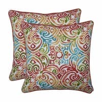 """Set of 2 Blue Contemporary Pattern Square Throw Pillows 18.5"""" - White"""