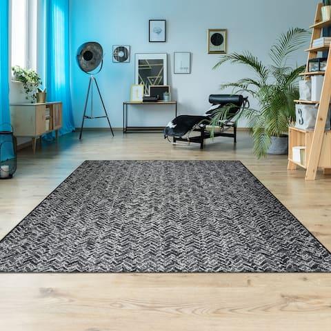 Hampton Herringbone Black Indoor/ Outdoor Area Rug