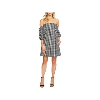 1.State Womens Babydoll Dress Off-The-Shoulder Gingham