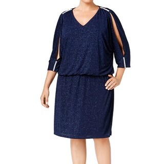 MSK NEW Blue Women's Size 22W Plus V-Neck Split Sleeve Blouson Dress
