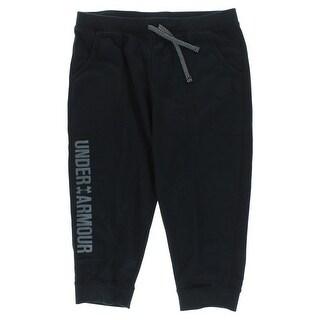 Under Armour Girls Favorite Fleece Capri Pants Black - Black/Grey
