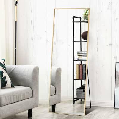 Modern Sleek Style Metal Bedroom Dressing Floor Mirror with Standing - 59x20