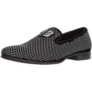 Stacy Adams Men Swagger Studded Ornament Slip-On Driving Style Loafer, Black/Silver, 14 M Us