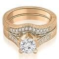 1.00 cttw. 14K Rose Gold Antique Cathedral Round Cut Diamond Engagement Set - Thumbnail 0