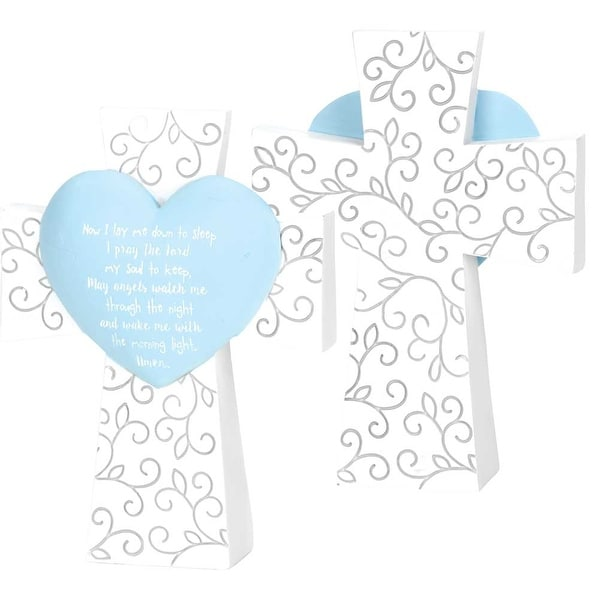 """Now I Lay Me Down To Sleep Prayer Blue Heart Table Top White Resin Cross; 5"""" x 4"""" - other-frame-size"""