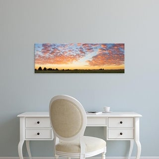 Easy Art Prints Panoramic Image 'Clouds over landscape at sunset, Prairie Ridge Natural Area, Illinois' Canvas Art