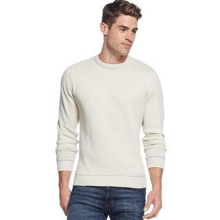 Club Room Cotton Tipped Crewneck Sweater Silverbirch Ivory Large L