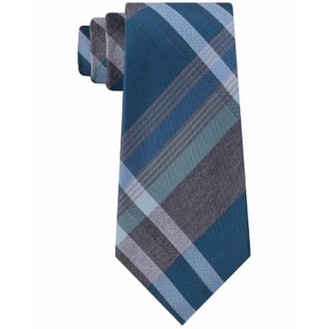 Kenneth Cole Reaction Men's Blue Tre Plaid Neck Tie Silk Accessory