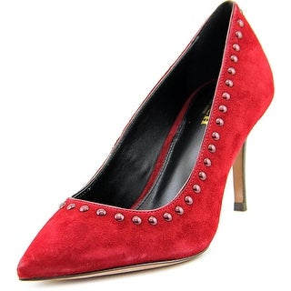 Coach Smith Rivets Women Pointed Toe Suede Burgundy Heels