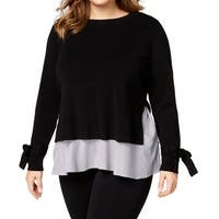 INC Black Women's Size 1X Plus Layered Look Stripe Pullover Sweater