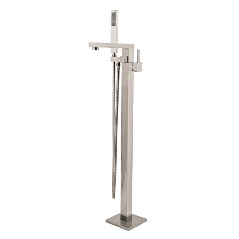 Stand Alone Tub Filler Freestanding 35 in Tub Brush Nickel Faucet - 35'' H x 6.8'' W x 10.24'' D