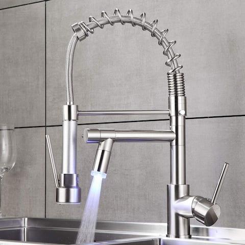 2-Function Pulldown Kitchen Faucet w/ LED 2 Spout