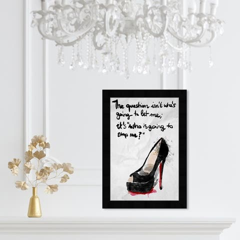 Oliver Gal 'Who's Going To Stop Me' Typography Framed Wall Art Prints Empowered Women Quotes and Sayings - Black, Gray
