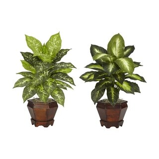 Nearly Natural Dieffenbachia with Wood Vase Silk Plant - Set of 2 orted