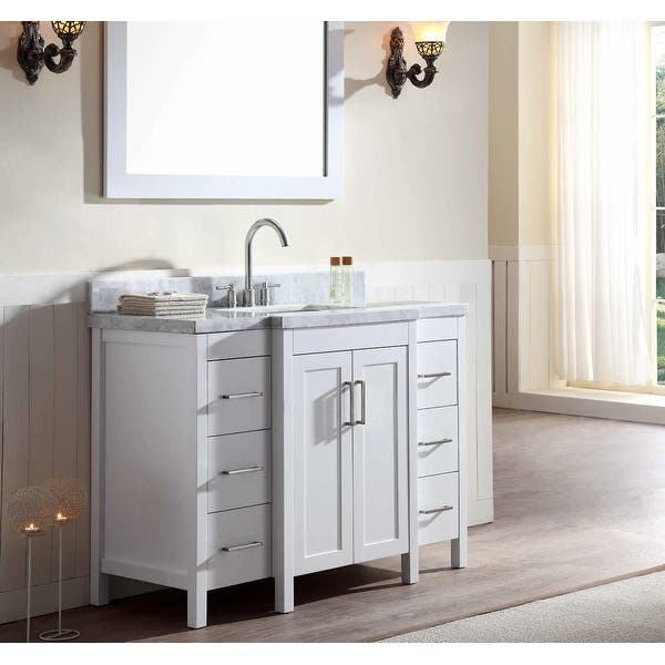 48 Inch Pure White Freestanding Bathroom Vanity Set White Carrara Marble Top And Hardware Included Overstock 31985895