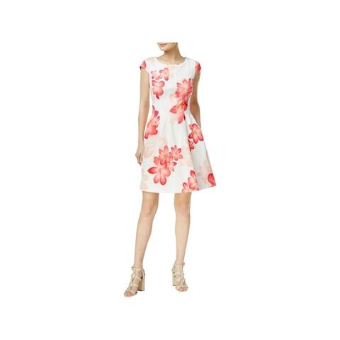 Calvin Klein Womens Petites Semi-Formal Dress Floral Print Pleated