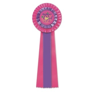 """Pack of 3 Hot Pink and Purple """"Birthday Girl"""" Party Deluxe Rosette Ribbons 13.5"""""""
