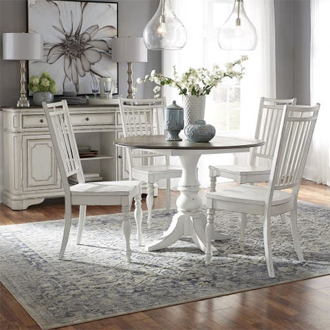 Magnolia Manor Antique White Optional 5-piece Drop Leaf Table Set