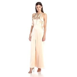 Jill Jill Stuart Ruffled Halter T-Back Evening Gown Dress