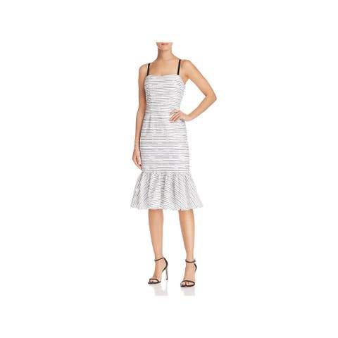 Milly Womens Molly Midi Dress Striped Burnout - White/Black