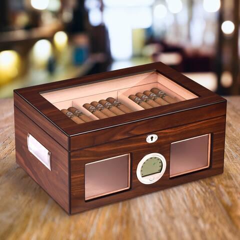 Costway 50-100 Cigar Humidor Storage Box Desktop Glasstop Humidifier
