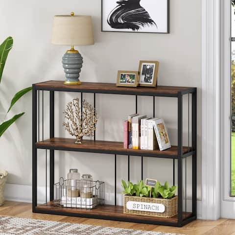 Industrial Sofa Console Table, Entryway Table with Storage Shelf